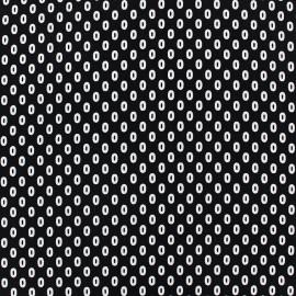 Tissu crêpe petits ovales fond noir x 10cm