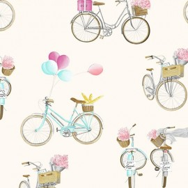 Tissu toile A bicyclette fond crème 280 cm