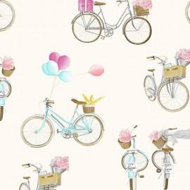 Tissu toile A bicyclette fond crème 280 cm x 63 cm