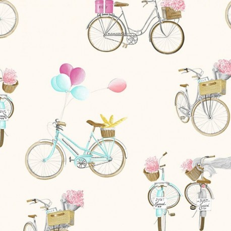 Fabric toile A bicyclette fond - cream 280 cm
