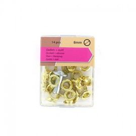 1 pack of 14 Eyelets 8mm and tool - golden