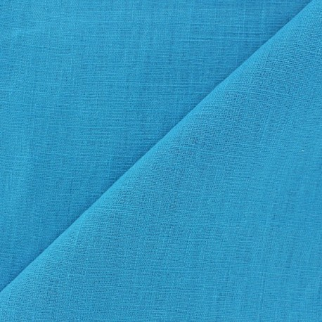 Tissu lin biologique turquoise x 10cm