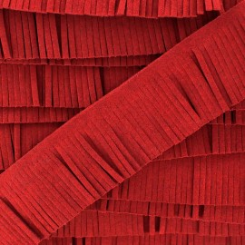 Fringed imitation suede ribbon x 50 cm - red