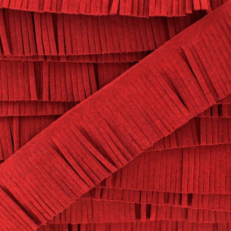 Fringed imitation suede ribbon x 50 cm - red