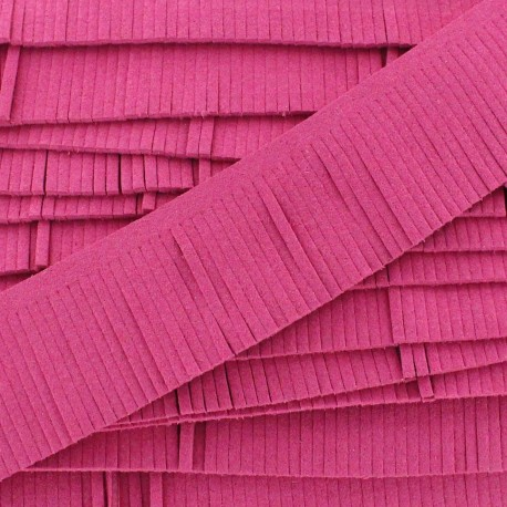 Fringed imitation suede ribbon x 50 cm - pink
