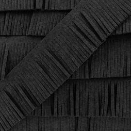 Suédine en Franges Noir x 50cm
