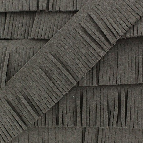 Fringed imitation suede ribbon x 50 cm - grey
