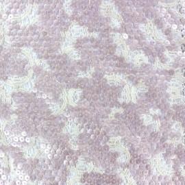 Tissu Dentelle brodée à paillettes Shanghai Kiss Rose x 10cm
