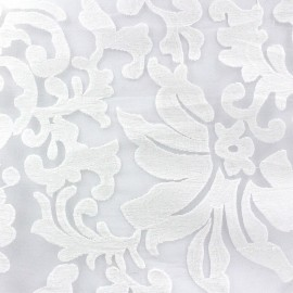 Arabesque Embroidered Organza Fabric - Ecru x 10cm