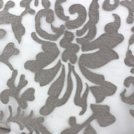 Arabesque Embroidered Organza Fabric - Taupe x 10cm