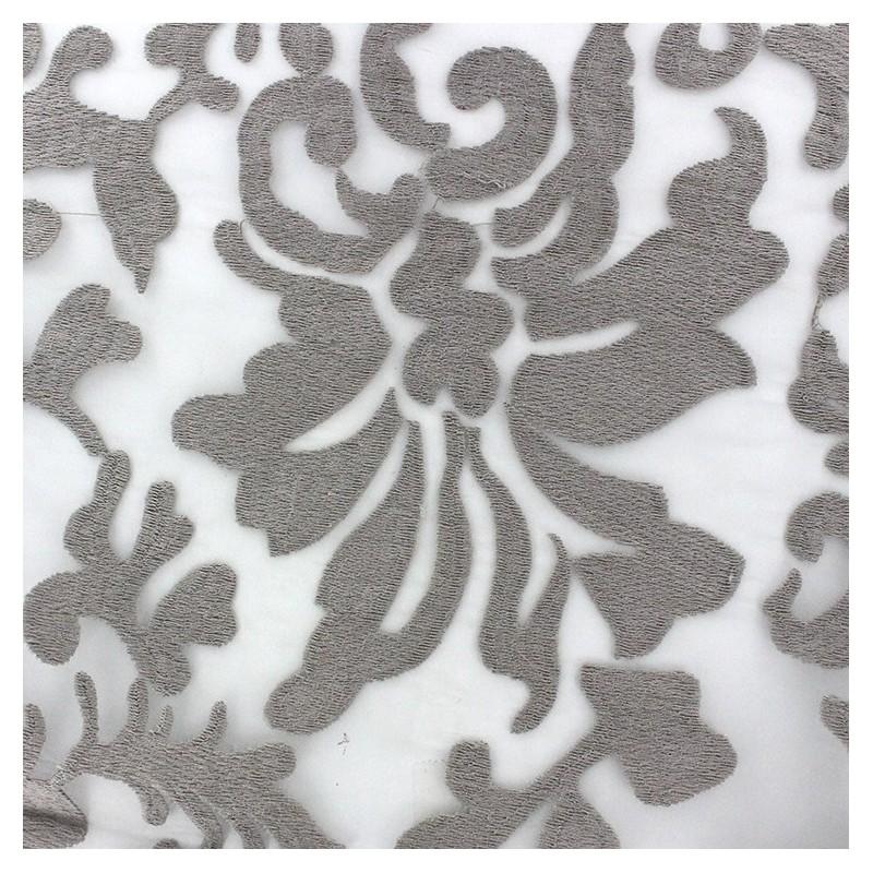 Tissu Organza brodé Arabesque Taupe x 10cm - Ma Petite Mercerie