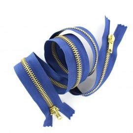 Fermeture Eclair® bouche à bouche métal non séparable bleu bugatti