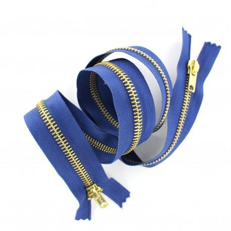 Closed end 2-way brass zipper - bugatti blue
