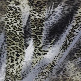 Tissu Royal Micro Satin Léopard Vert de gris x  50cm