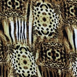 Tissu Satin Félin Mosaïque Ocre x  50cm