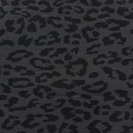 Tissu Gabardine Lycra Léopard noir x 10cm