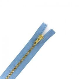 fermeture Eclair® laiton non séparable - bleu ciel