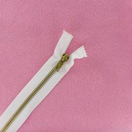 Fermeture Eclair® laiton non séparable blanc