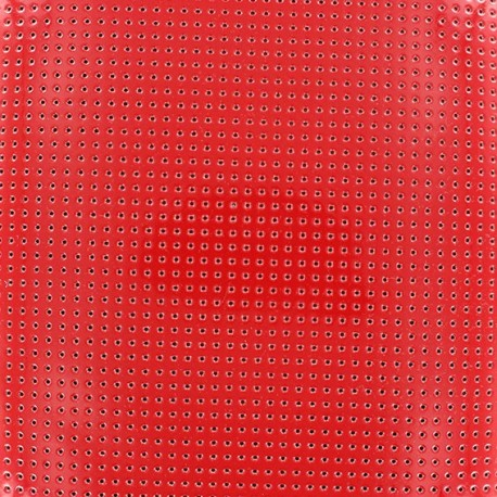 Lacquered Drilled Vinyl Fabric - Red x 10cm