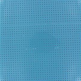 Tissu vinyl laqué perforé bleu x 10cm