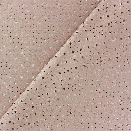 Imitation leather Stars soft perforated - pink x 10cm