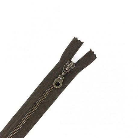 Brass Separating zipper - walnut stain