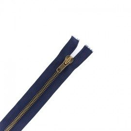 Fermeture Eclair® laiton séparable bleu marine