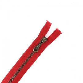 Brass Separating zipper - bloody red
