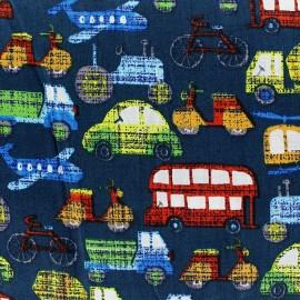 Tissu coton Locomotion fond bleu x 10cm