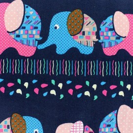 Graphic Elephant Cotton Fabric - Navy x 30cm