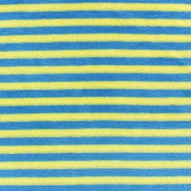 Tissu Velours éponge jersey petites rayures anis/bleu x 10cm