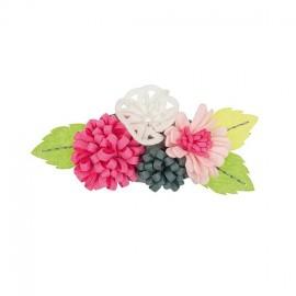 Flower bouquet brooch kit - green/pink