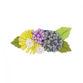 Flower bouquet brooch kit - mauve/green