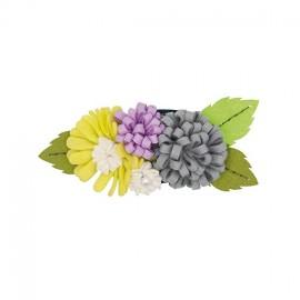 Kit broche Bouquet de Fleurs mauve / vert