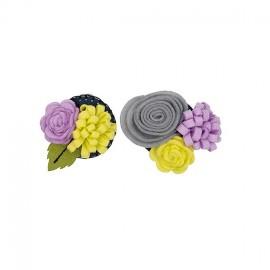 Flower bouquet brooch kit - grey/mauve
