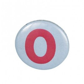 Pin-on button badge number 0 - sky blue