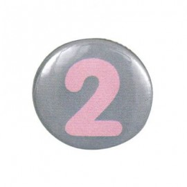 Pin-on button badge number 2 - grey