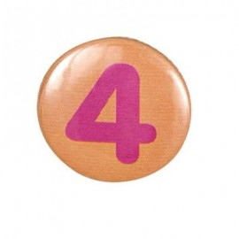 Pin-on button badge number 4 - orange