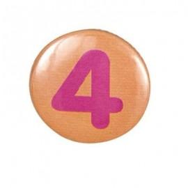 Pin-on button badge number 4 - orange
