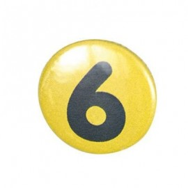 Pin-on button badge number 6 - light green