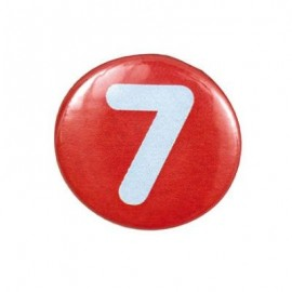 Pin-on button badge number 7 - orange