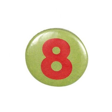 Pin-on button badge number 8 - light green