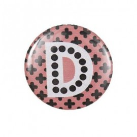 "Fantasy Pin-on button badge Alphabet ""letter D"" - pink"