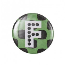 "Fantasy Pin-on button badge Alphabet ""letter F"" - light green"