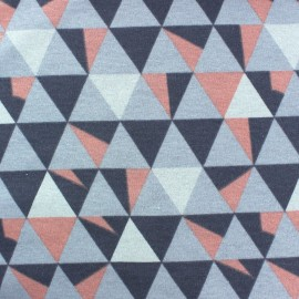 Sweat reverside Minkee Graphik velvet Fabric - coral/grey x 10cm
