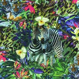 ♥ Coupon 110 cm X 140 cm ♥  Tissu jersey Jungle Exotique