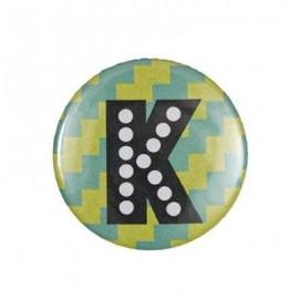 """Fantasy Pin-on button badge Alphabet """"letter K"""" - light green"""