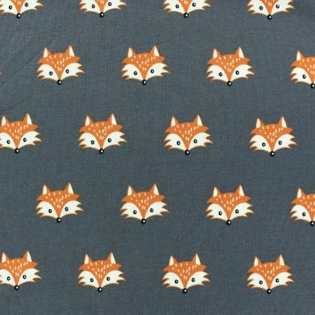 Jersey Tissu gris chiné little fox renard beige rose 1 M