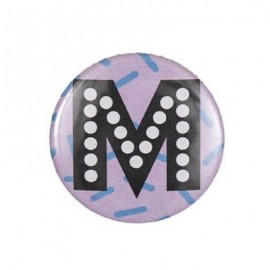 "Fantasy Pin-on button badge Alphabet ""letter M"" - purple"