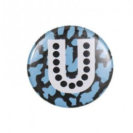 "Fantasy Pin-on button badge Alphabet ""letter U"" - blue"